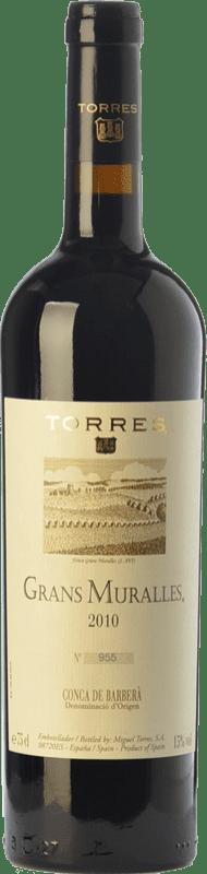 134,95 € 免费送货 | 红酒 Torres Grans Muralles Crianza 2010 D.O. Conca de Barberà 加泰罗尼亚 西班牙 Grenache, Monastrell, Carignan 瓶子 75 cl