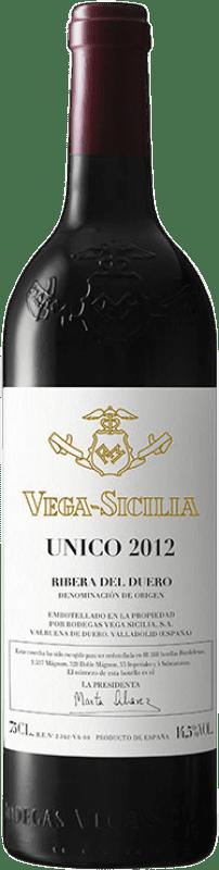 391,95 € Envío gratis | Vino tinto Vega Sicilia Único Gran Reserva D.O. Ribera del Duero Castilla y León España Tempranillo, Cabernet Sauvignon Botella 75 cl