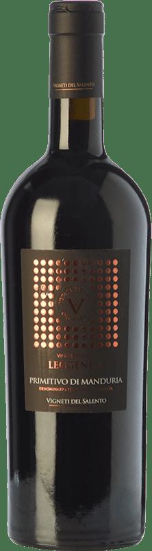 36,95 € 免费送货   红酒 Vigneti del Salento Leggenda D.O.C. Primitivo di Manduria 普利亚大区 意大利 Primitivo 瓶子 75 cl