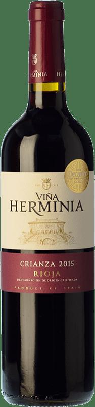 6,95 € Envoi gratuit | Vin rouge Viña Herminia Crianza D.O.Ca. Rioja La Rioja Espagne Tempranillo, Grenache Bouteille 75 cl