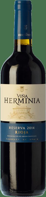 12,95 € 免费送货 | 红酒 Viña Herminia Reserva D.O.Ca. Rioja 拉里奥哈 西班牙 Tempranillo, Grenache, Graciano 瓶子 75 cl