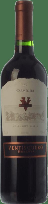 12,95 € | Red wine Viña Ventisquero Carmenère Reserva I.G. Valle de Colchagua Colchagua Valley Chile Syrah, Carmenère Bottle 75 cl