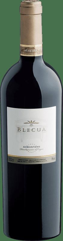 96,95 € Envío gratis | Vino tinto Viñas del Vero Blecua Crianza 2008 D.O. Somontano Aragón España Tempranillo, Merlot, Syrah, Cabernet Sauvignon Botella 75 cl