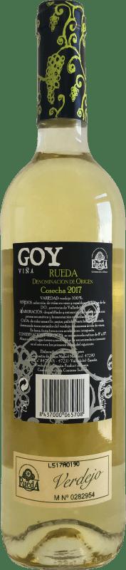 5,95 € Envio grátis | Vinho branco Thesaurus Viña Goy Joven D.O. Rueda Castela e Leão Espanha Verdejo Garrafa 75 cl