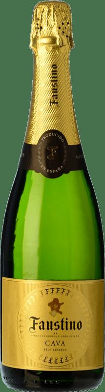 7,95 € 免费送货 | 白起泡酒 Faustino 额外的香味 Reserva D.O. Cava 加泰罗尼亚 西班牙 Macabeo, Chardonnay 瓶子 75 cl