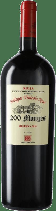 87,95 € Free Shipping | Red wine Vinícola Real 200 Monges Reserva 2010 D.O.Ca. Rioja The Rioja Spain Tempranillo, Grenache, Graciano Magnum Bottle 1,5 L