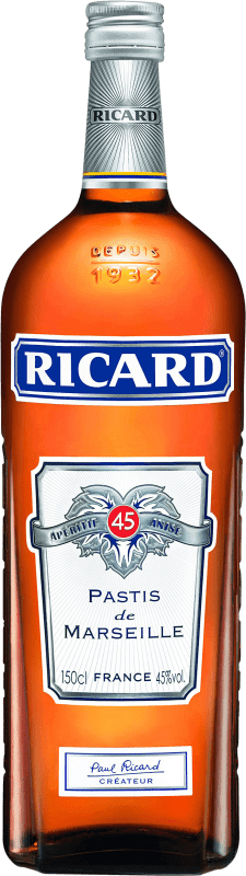 26,95 € Envío gratis | Pastis Pernod Ricard Francia Botella Mágnum 1,5 L