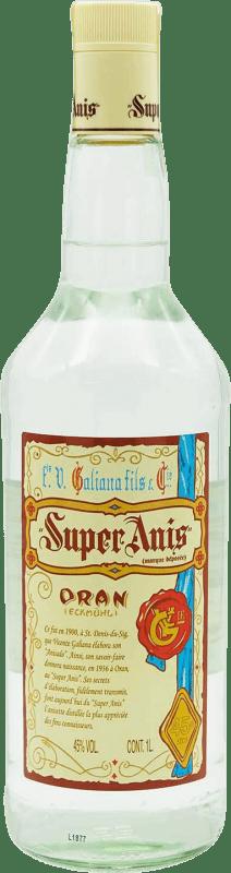 14,95 € Envío gratis | Anisado Galiana Fils Super Anís Seco España Botella Misil 1 L