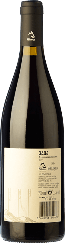 5,95 € Free Shipping | Red wine 3404 de Pirineos Joven D.O. Somontano Aragon Spain Grenache, Moristel Bottle 75 cl