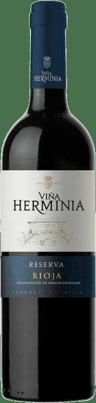 9,95 € 免费送货 | 红酒 Viña Herminia Reserva D.O.Ca. Rioja 西班牙 Tempranillo, Grenache, Graciano 瓶子 75 cl