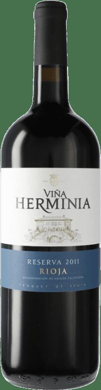 17,95 € 免费送货 | 红酒 Viña Herminia Reserva D.O.Ca. Rioja 西班牙 Tempranillo, Grenache, Graciano 瓶子 Magnum 1,5 L