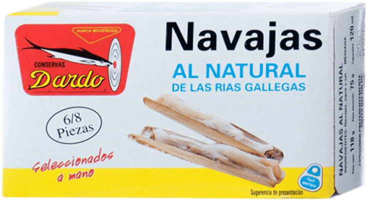 6,95 € Free Shipping | Conservas de Marisco Dardo Navajas al Natural Spain 6/8 Pieces
