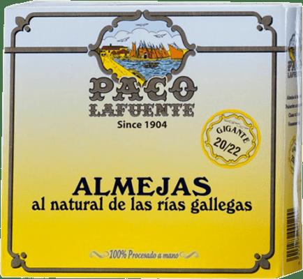 145,95 € Free Shipping | Conservas de Marisco Conservera Gallega Paco Lafuente Almejas al Natural Galicia Spain 20/25 Pieces