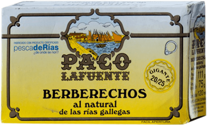 21,95 € Free Shipping | Conservas de Marisco Conservera Gallega Paco Lafuente Berberechos al Natural Galicia Spain 20/25 Pieces