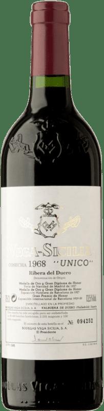 2 049,95 € Envío gratis | Vino tinto Vega Sicilia Único Gran Reserva 1968 D.O. Ribera del Duero Castilla y León España Tempranillo, Merlot, Cabernet Sauvignon Botella 75 cl