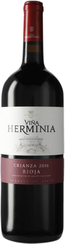 11,95 € 免费送货 | 红酒 Viña Herminia Viña Herminia Crianza D.O.Ca. Rioja 西班牙 瓶子 Magnum 1,5 L