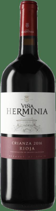 11,95 € Envío gratis | Vino tinto Viña Herminia Viña Herminia Crianza D.O.Ca. Rioja España Botella Mágnum 1,5 L